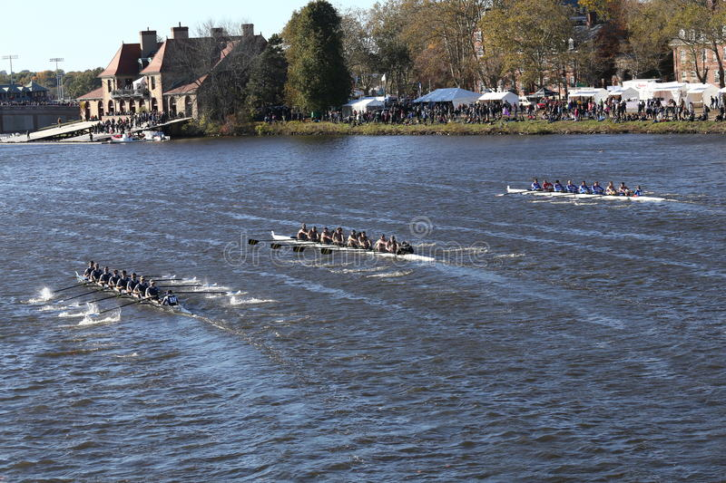 Thaca (left) Colorado (middle) Coast Guard Academy (right) races in the Head of Charles Regatta royalty free stock images