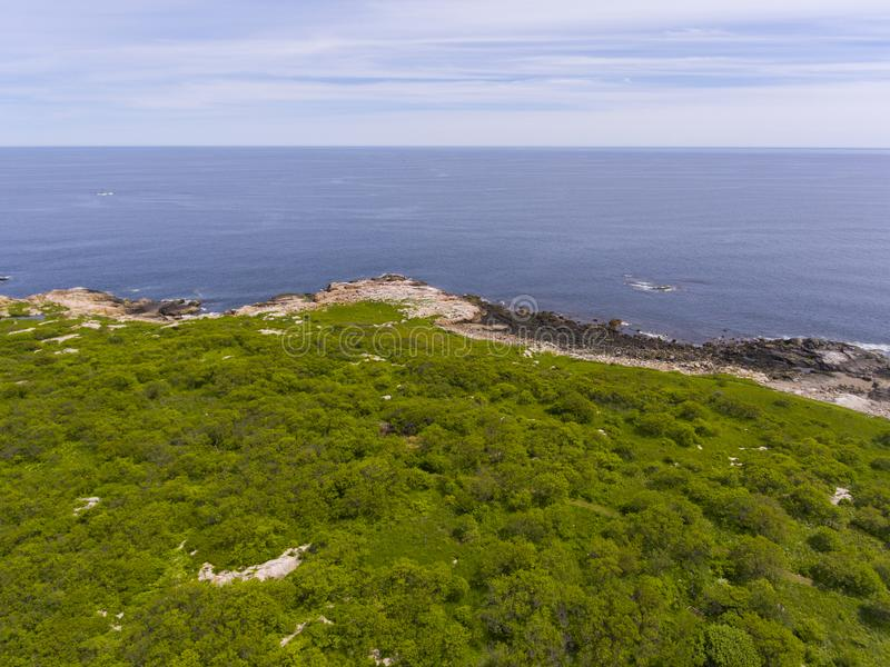 Thacher Island, Cape Ann, MA, USA. Aerial view of Thacher Island coast in Rockport, Cape Ann, Massachusetts, USA royalty free stock photos