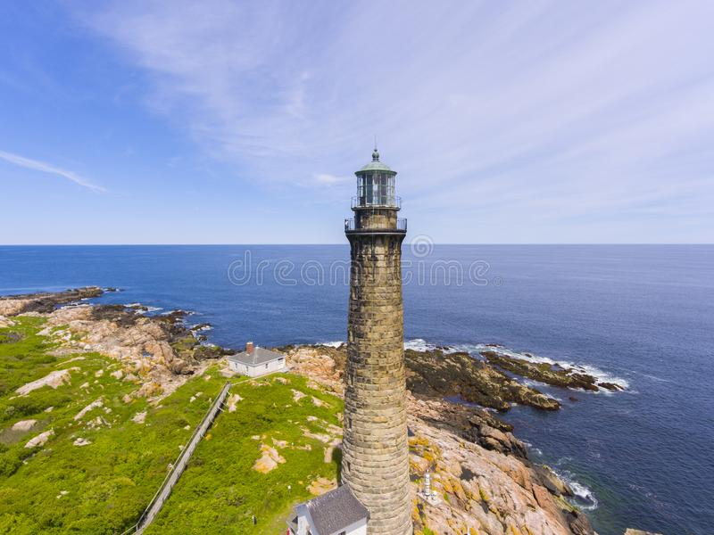 Thacher Island Lighthouse, Cape Ann, MA, USA. Aerial view of Thacher Island Lighthouse on Thacher Island, Rockport, Cape Ann, Massachusetts, USA. Thacher Island stock photo