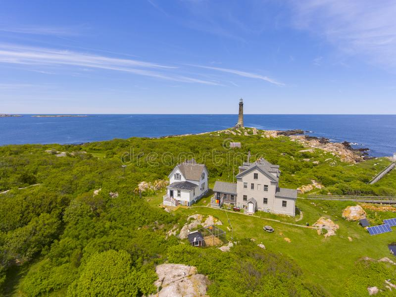 Thacher Island Lighthouse, Cape Ann, MA, USA. Aerial view of Thacher Island Lighthouse on Thacher Island, Rockport, Cape Ann, Massachusetts, USA. Thacher Island stock photos