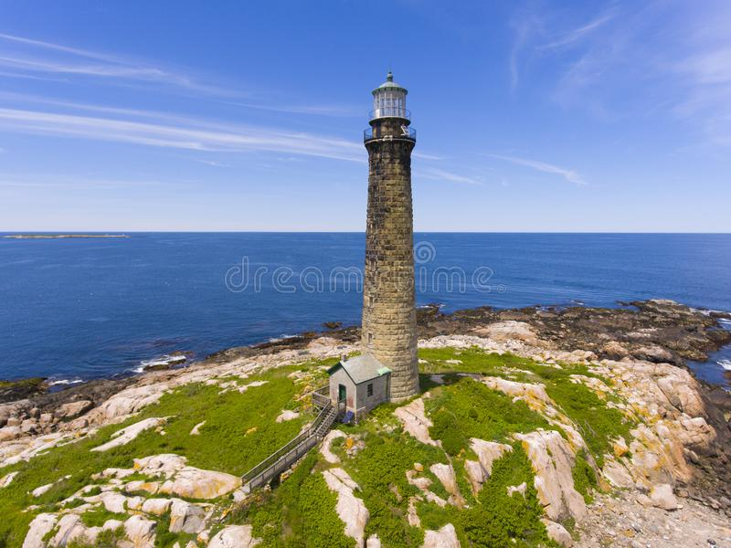 Thacher Island Lighthouse, Cape Ann, MA, USA. Aerial view of Thacher Island Lighthouse on Thacher Island, Rockport, Cape Ann, Massachusetts, USA. Thacher Island stock photography