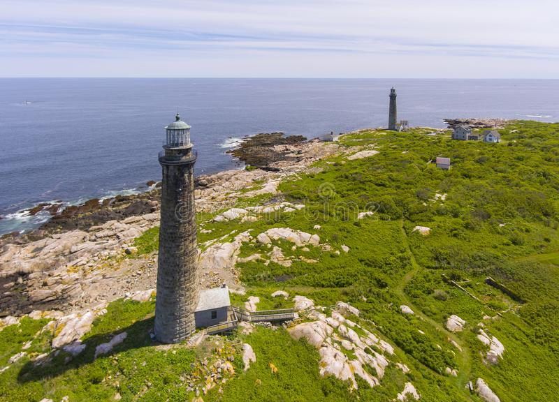 Thacher Island Lighthouses, Cape Ann, MA, USA. Aerial view of Thacher Island Lighthouses on Thacher Island, Rockport, Cape Ann, Massachusetts, USA. Thacher stock images