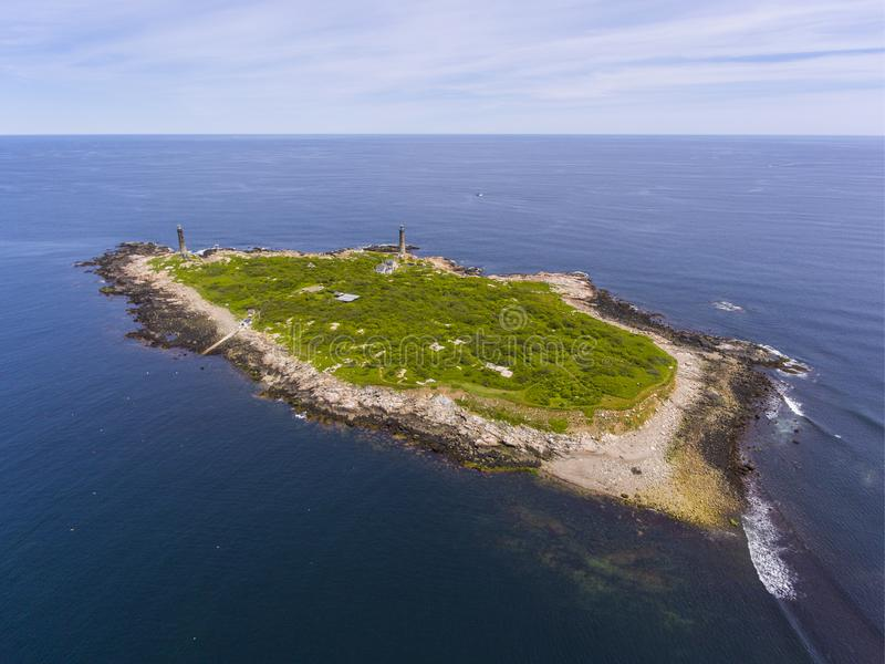 Thacher Island Lighthouses, Cape Ann, MA, USA. Aerial view of Thacher Island Lighthouses on Thacher Island, Rockport, Cape Ann, Massachusetts, USA. Thacher stock photo