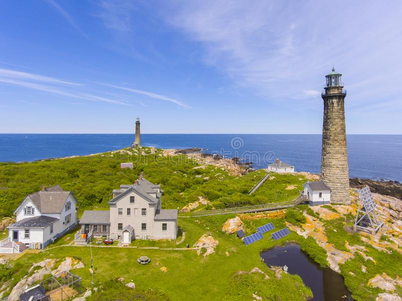 Thacher Island Lighthouses, Cape Ann, MA, USA. Aerial view of Thacher Island Lighthouses on Thacher Island, Rockport, Cape Ann, Massachusetts, USA. Thacher stock image
