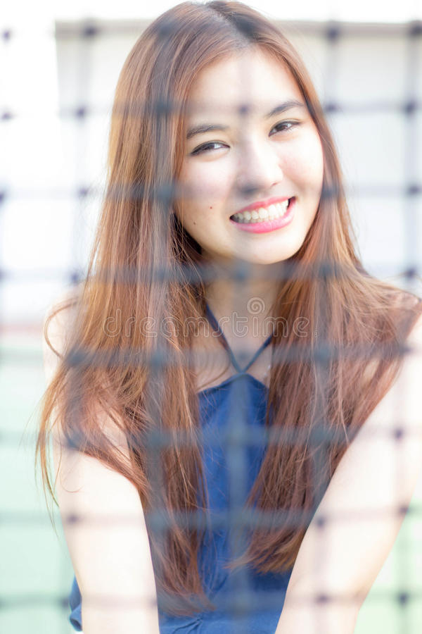 Thai adult beautiful girl relax and smile royalty free stock photography