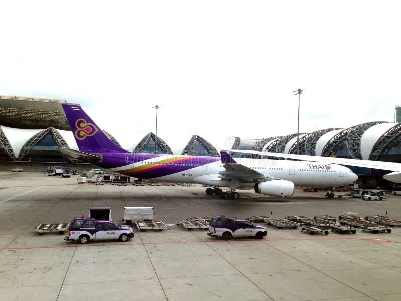 Thai Airway Flight at Suvanaphumi Airport, Bangkok. Thai Airway Flight stock photos