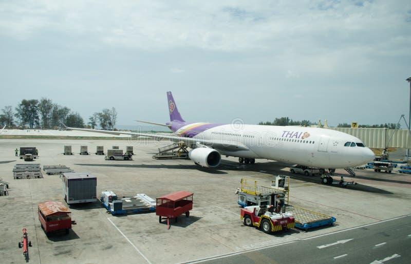 Thai Airway landed at Phuket International Ai. Phuket - March 17: Thai Airway landed at Phuket International Airport on March 17, 2014 in Phuket, Thailand stock photography