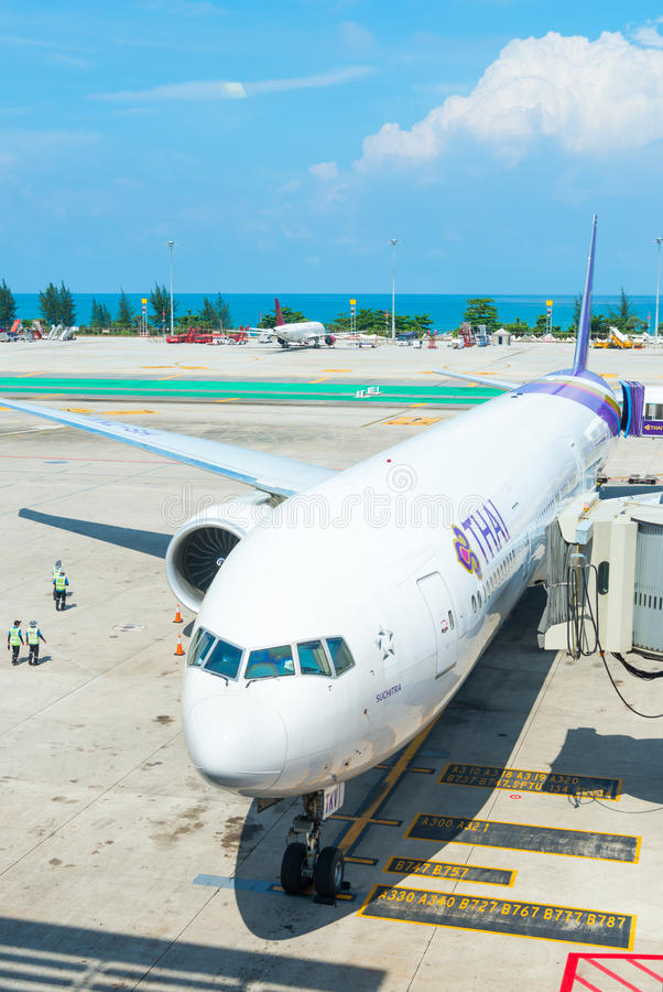 Download Thai Airways Aiplane In Phuket International Airport Editorial Stock Image - Image of aviation, airliner: 96125709