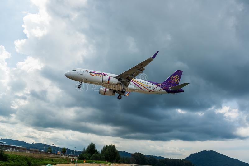 Thai Airways airbus A320 is landing at Phuket Airport, photograph from checkpoint of Thailand stock photography