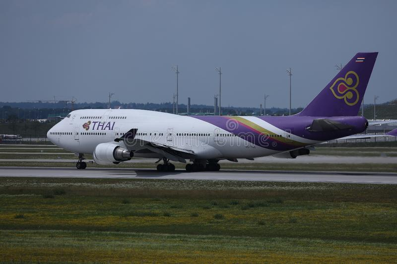 Thai Airways B747 taxiing in Munich Airport, MUC royalty free stock photography