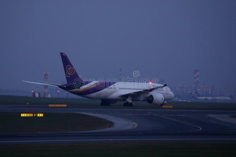 Thai Airways doing taxi on runway, Vienna Airport Schwechat VIE Austria stock photography