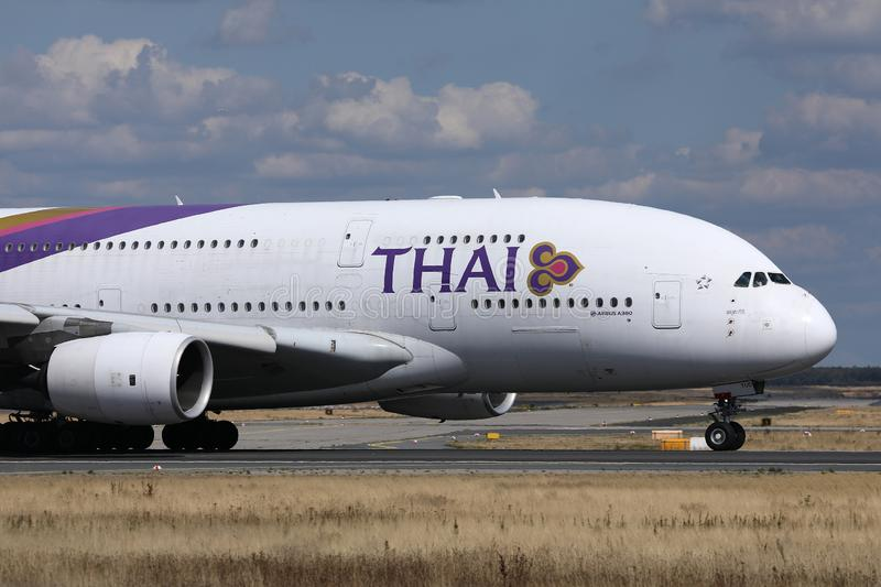 Thai Airways International taxiing in Munich Airport, MUC royalty free stock photography