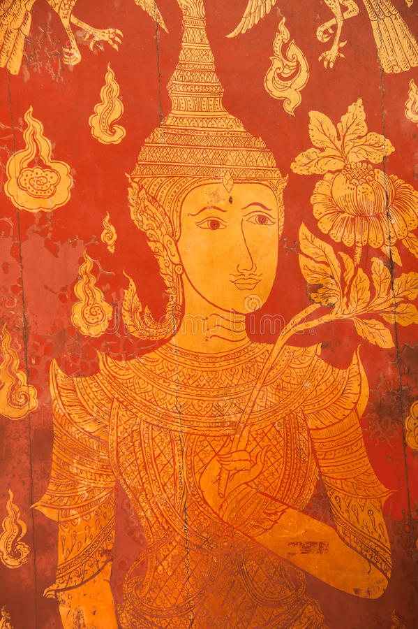 Thai Ancient Art Painting On The Wooden Door Royalty Free Stock Image