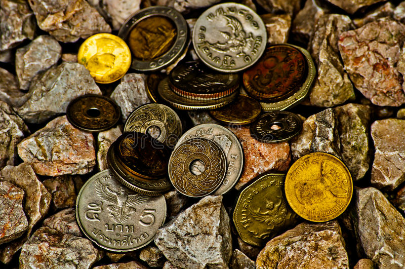 Thai ancient coins stock image