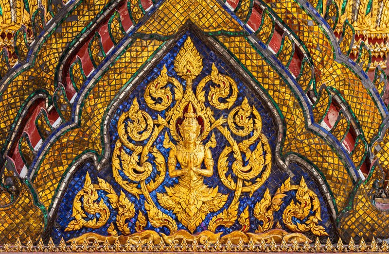 Ancient Thai Angel On A Gable Stock Photo Image Of