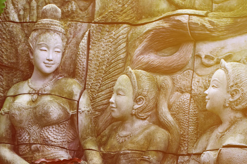 Thai Angle Stone Craving.effect light . Thai Angle Stone Craving.effect soft light royalty free stock images