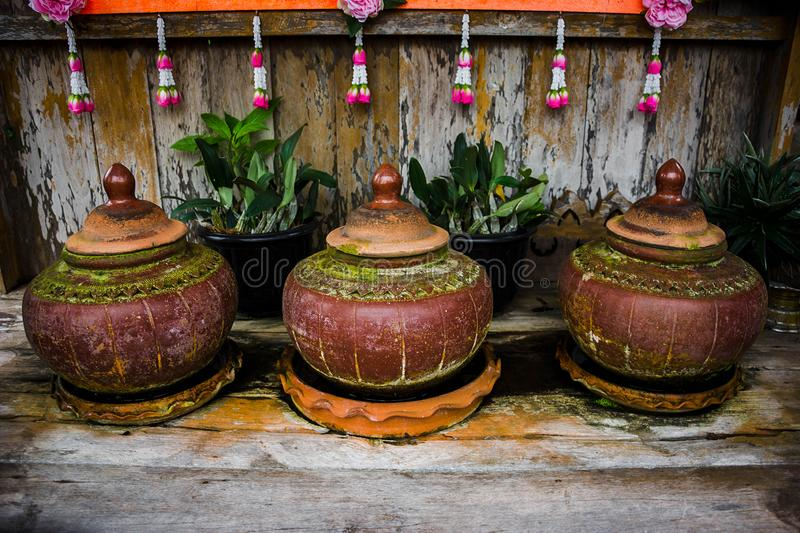 Antique clay pot earth ware for drinking water. Thai antique clay pot earth ware for drinking water stock image