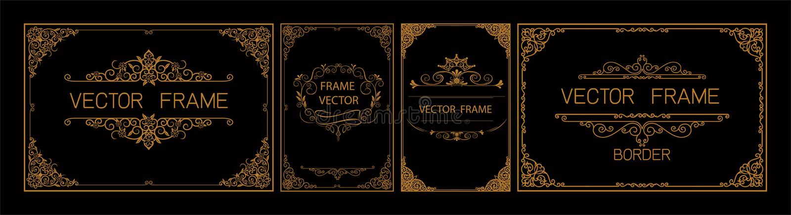 Thai Art, Gold border frame with thailand line floral for picture, Vector design decoration pattern style.frame corner design is p stock illustration