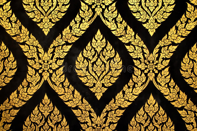 Thai art gold paiting pattern stock photos