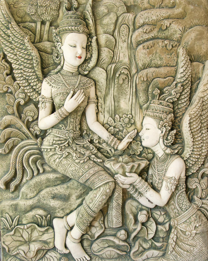 Thai art stucco royalty free stock images