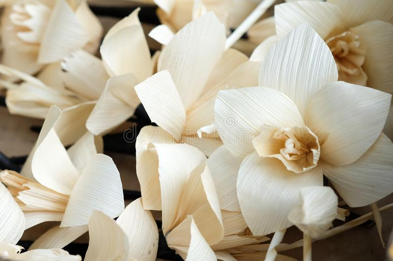 Thai Artificial Funeral Daffodil Flower. Or Dok mai chan stock photography