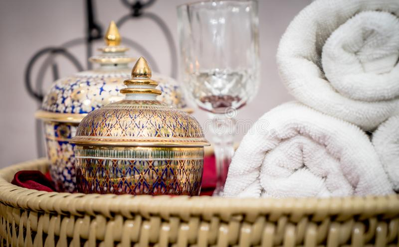 Thai Asian style Spa objects on display. Thai Asian style Spa objects on wooden display stock photos