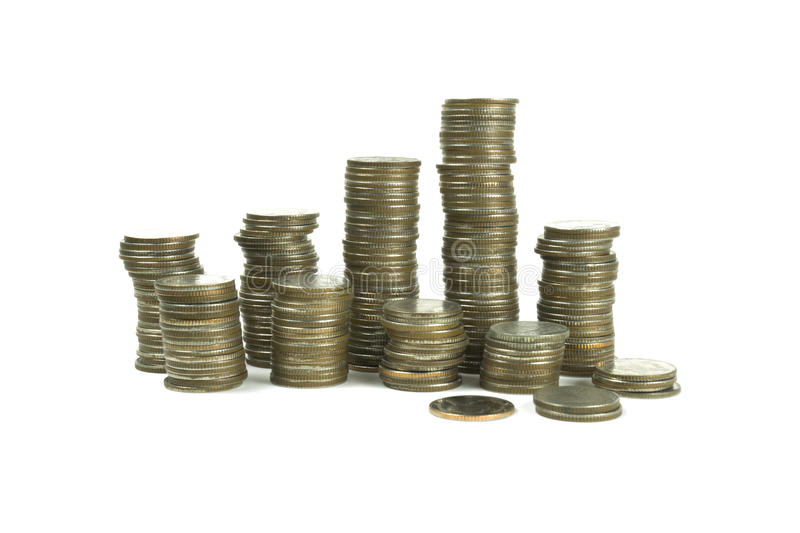 Thai Baht coins on white background stock images