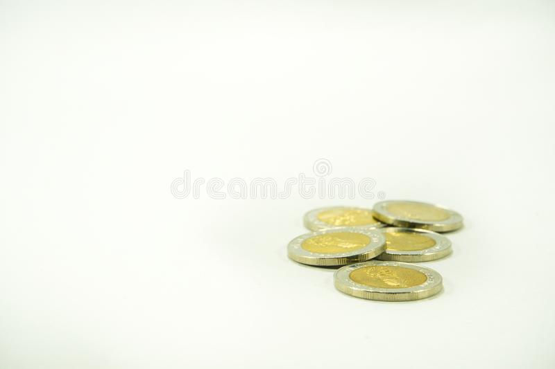 Thai baht money, Thai coins are  on white background stock images