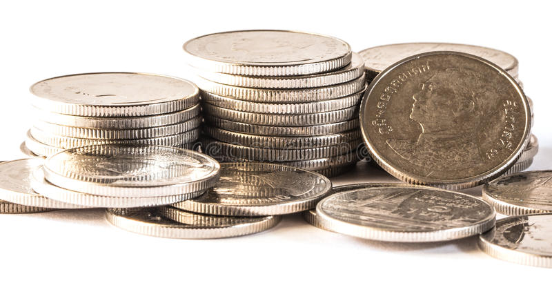 Thai baht, money, Thai coin.Money thai coins ( bath). Staircase sorted on isolate. King of Thailand. The concept of financial planning, savings, Busines royalty free stock photography