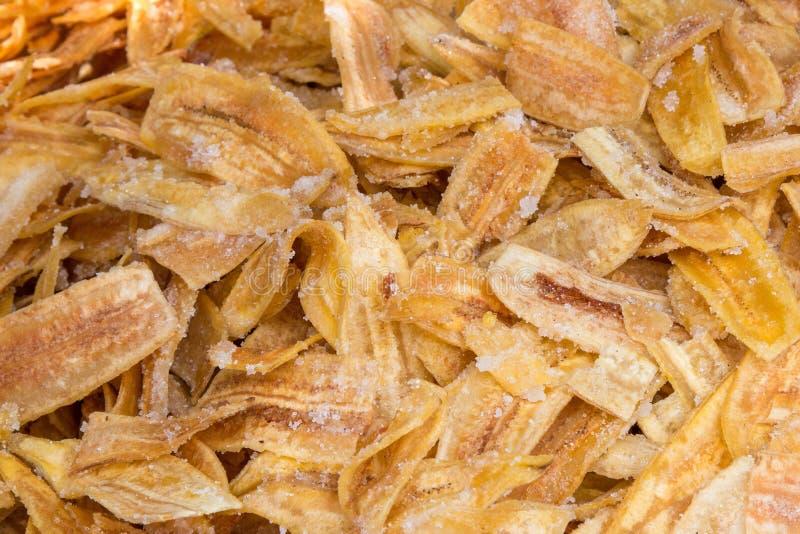Thai banana chips are made from raw banana. stock images