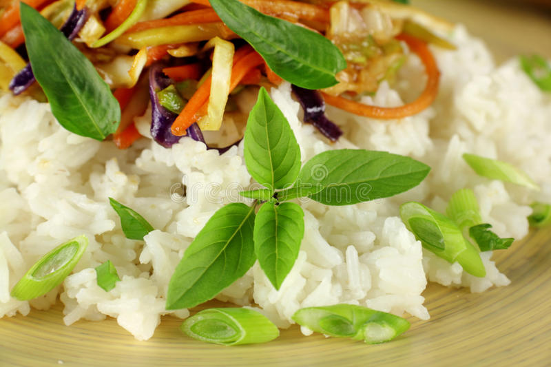 Thai Basil. Delicious and aromatic Thai basil with Vietnamese mint with a stir fry stock photo