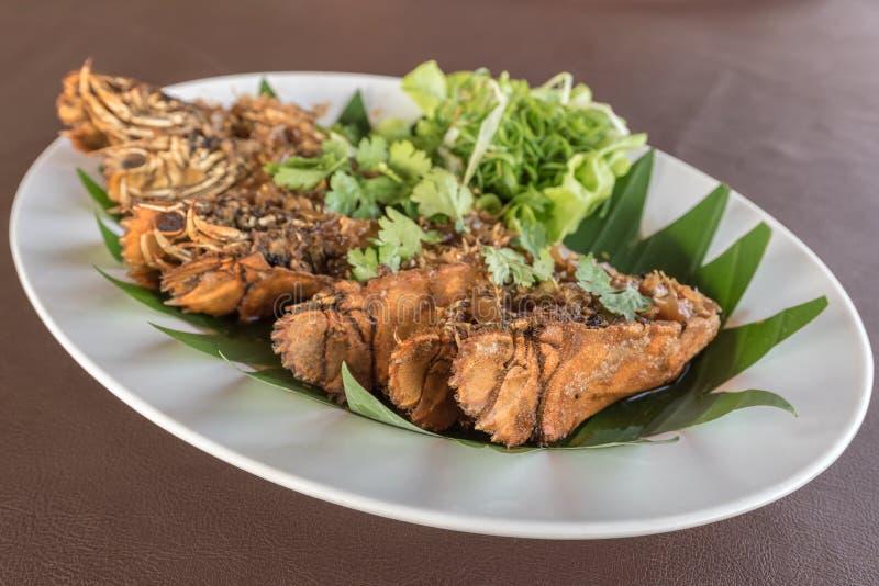 Thai beweegt Fried Mantis Shrimp royalty-vrije stock afbeelding