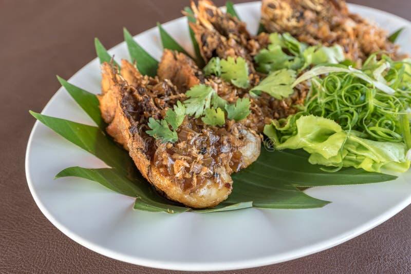 Thai beweegt Fried Mantis Shrimp royalty-vrije stock fotografie