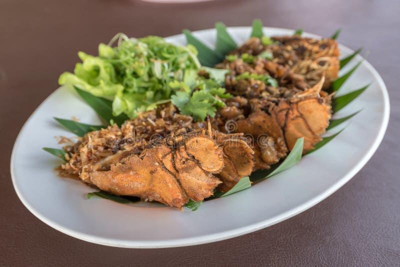 Thai beweegt Fried Mantis Shrimp met Knoflook stock afbeelding