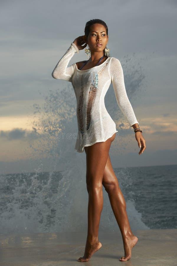 Thai Bikini Model At Sunrise Royalty Free Stock Photo