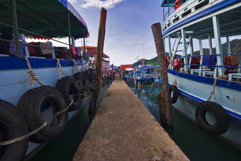 Thai Boats Near The Pier Stock Photography