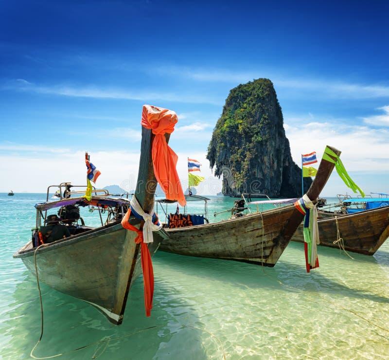 Thai boats on Phra Nang beach, Thailand royalty free stock photos