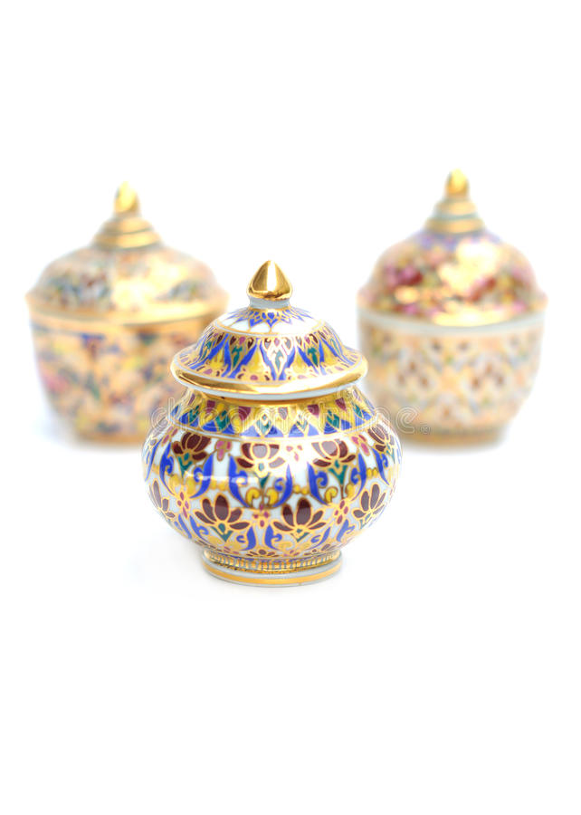 Thai bowl design on white backgrounds
