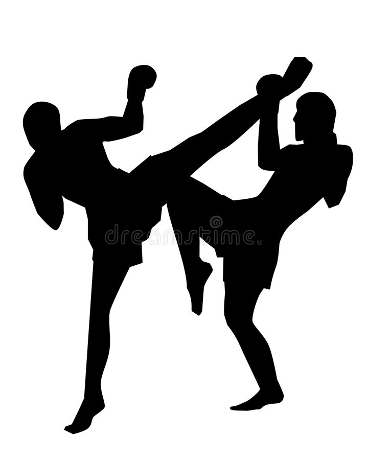 Thai Boxing. Two fighters engaged in a Muay Thai bout