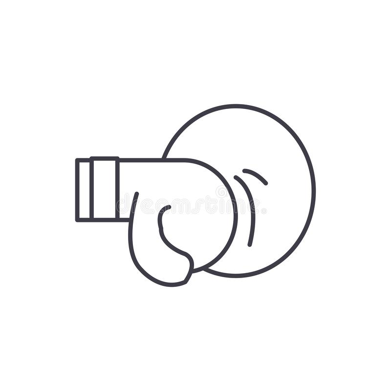 Thai boxing line icon concept. Thai boxing vector linear illustration, symbol, sign royalty free illustration