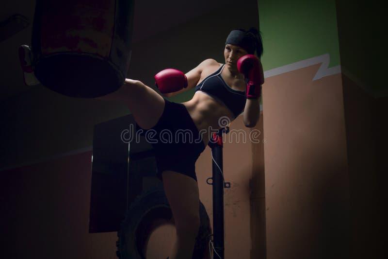 Thai boxing world champion is warming up stock photo