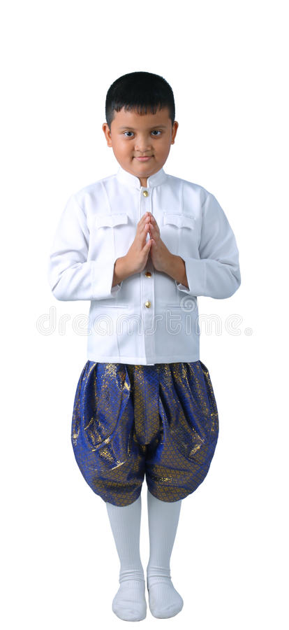 Thai boy in welcome isolate. Cute Thai boy in welcome isolate royalty free stock photography