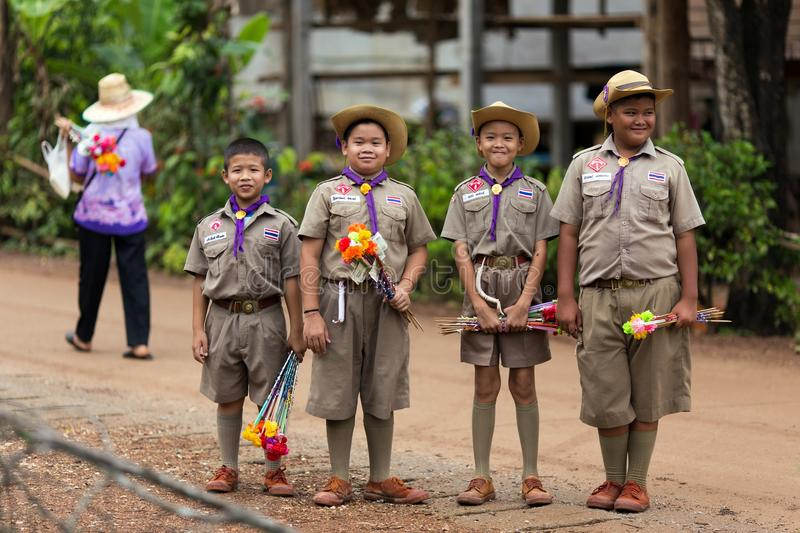 Thai boyscouts group stock photography