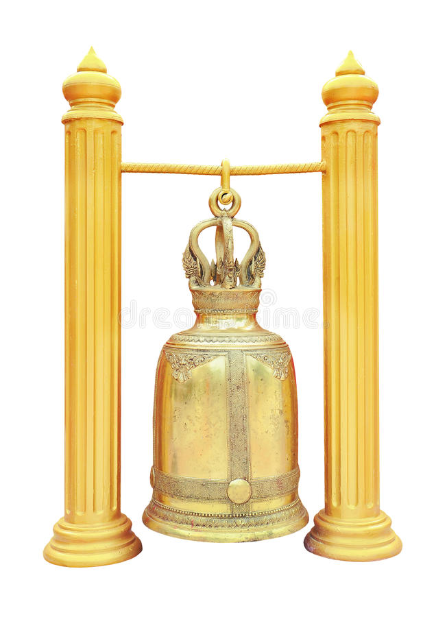 Download Thai Brass Bell In The Temple Isolated On White Stock Image - Image of grunge, culture: 19414347