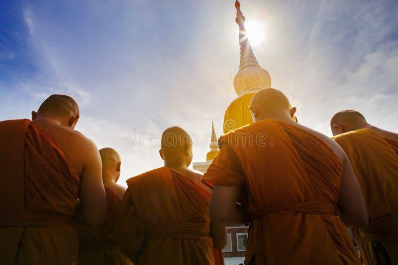 thai buddha monk praying at prathat nadun mahasarakham most important religion landmark in thailand royalty free stock photo