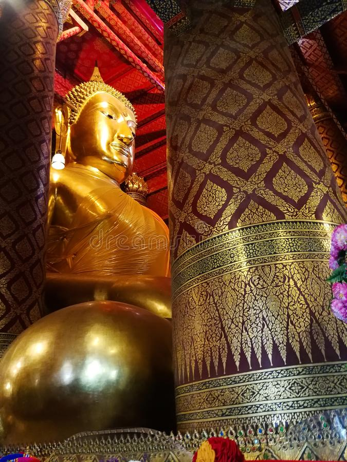 Thai Buddha statue in Thai temple royalty free stock photo