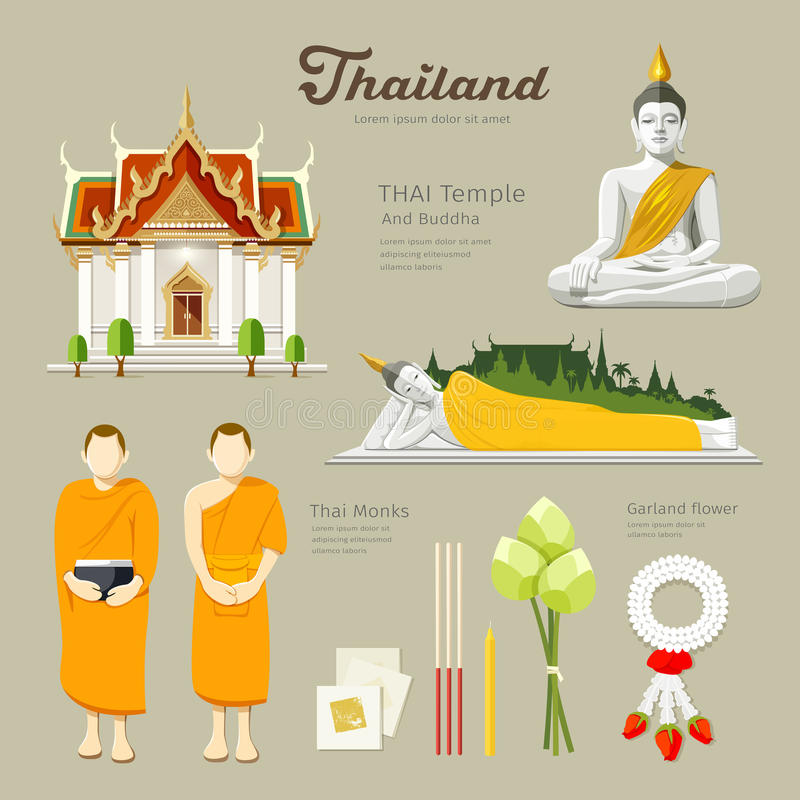 Thai Buddha and Temple with monks of Thailand. Thai Buddha and Temple with monks, lotus,flower,candle in thailand design background, illustration vector illustration
