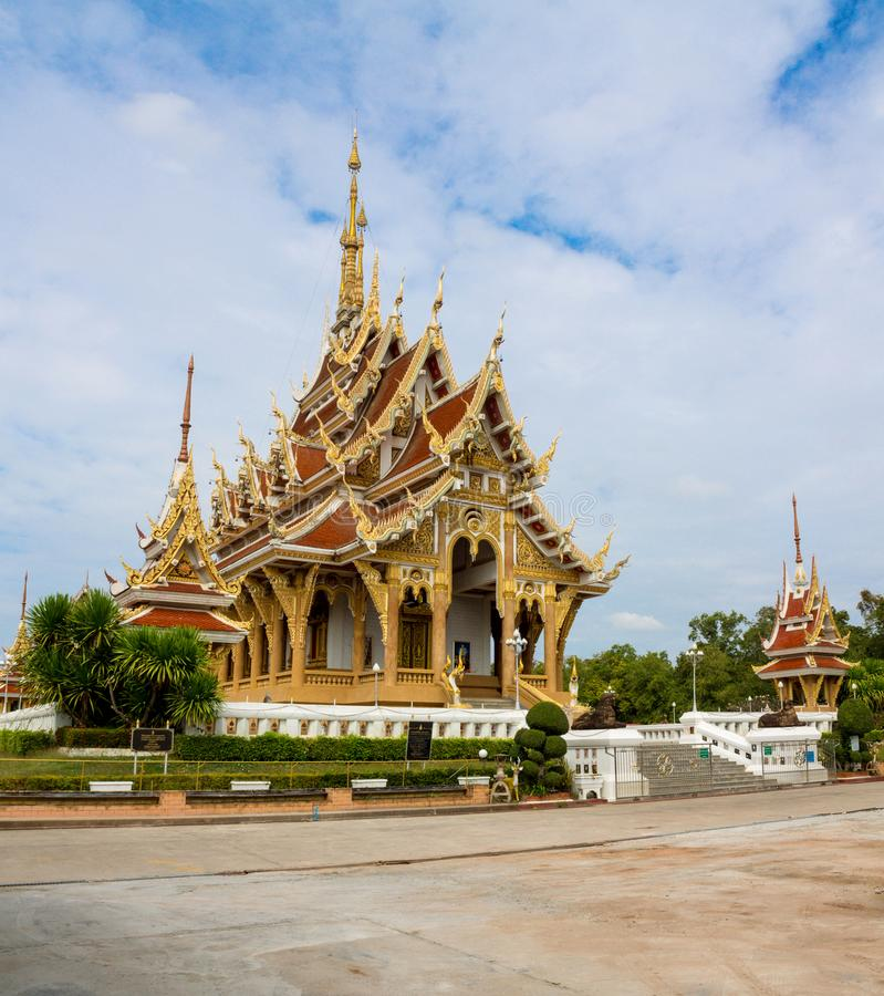 Thai buddhist temple wat in Thailand, Wat Pa Saeng Arun in Khon Kaen royalty free stock photo