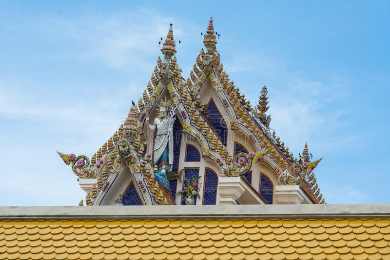 Thai Buddist Temple Gable Roof Style stock photography