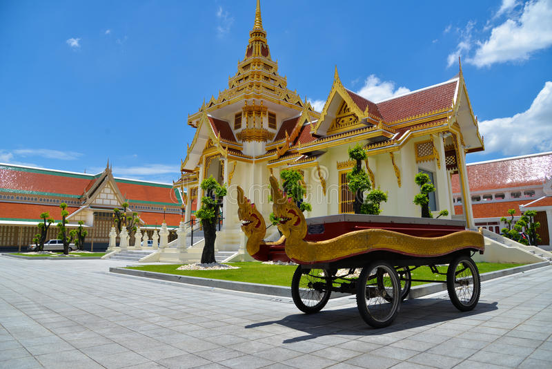 Thai cart with serpents for carry casket to crematory royalty free stock images
